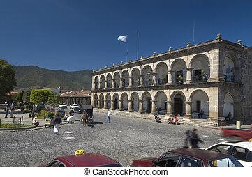 city hall antigua guatemala - colonial building arches city...