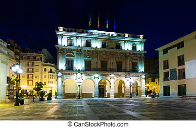 City Hall at night. Castellon de la Plana