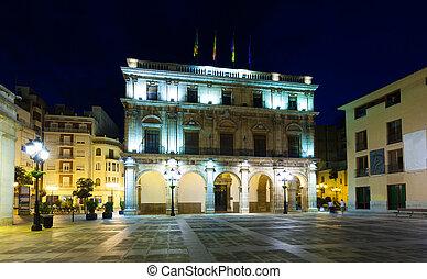 City Hall at night. Castellon de la Plana