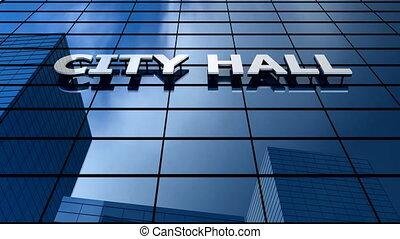 City hall building blue sky timelapse.