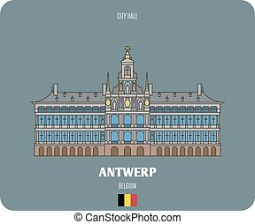 City Hall in Antwerp, Belgium. Architectural symbols of ...