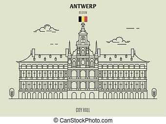 City Hall in Antwerp, Belgium. Landmark icon in linear style