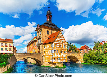 City Hall in Bamberg, Germany - Scenic summer view of the ...
