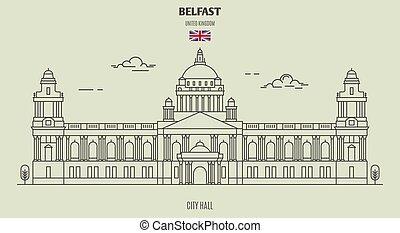 City Hall in Belfast, UK. Landmark icon in linear style