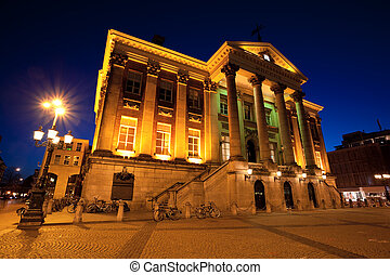 City Hall in Groningen city at night, Netherlands