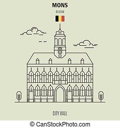 City Hall in Mons, Belgium. Landmark icon in linear style