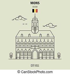 City Hall in Mons, Belgium. Landmark icon