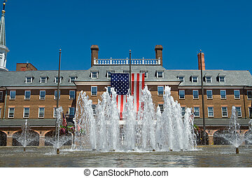 City Hall in Old Town, Alexandria, Virginia in colonial...