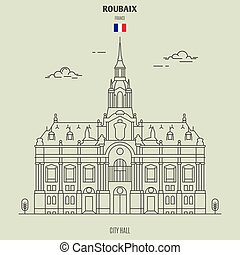City Hall in Roubaix, France. Landmark icon in linear style