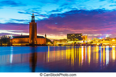 City Hall in Stockholm, Sweden - Scenic evening summer view...