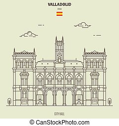 City Hall in Valladolid, Spain. Landmark icon in linear style