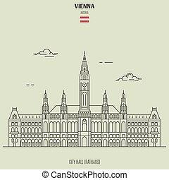 City Hall in Vienna, Austria. Landmark icon