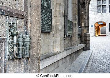 City Hall lock and door pull in Mons, Belgium. - City Hall ...
