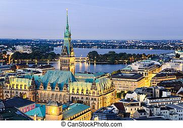 City Hall of Hamburg, Germany - Aerial view of the City Hall...