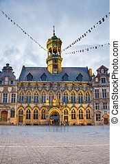 City Hall on the central square in Mons, Belgium. - Gothic ...