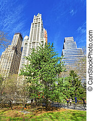 City Hall Park with tourists in Lower Manhattan