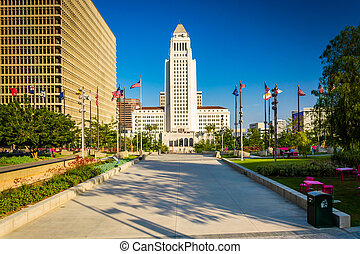 City Hall, seen at Grand Park in downtown Los Angeles,...