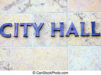 City hall sign.