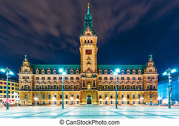 City Hall Square in Hamburg, Germany