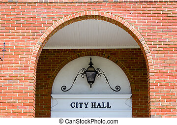 City Hall - Entrance to a hometown city hall