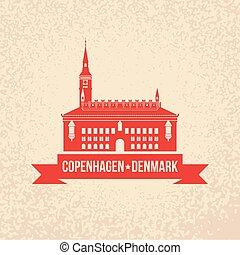 City hall. The symbol of Copenhagen, Denmark. Vector...