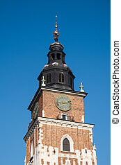 City Hall Tower at main Market Square in center of Krakow, Poland