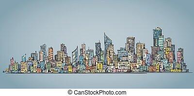 City hand drawn, vector illustration