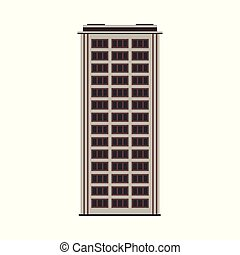 City high-rise building front view in flat style isolated on white background.