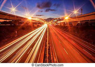 city highway at night with ligh