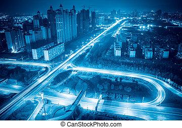 city highway junction at night in nanchang,China