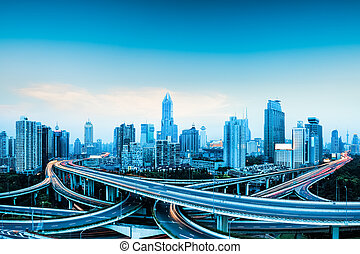 city highway overpass panoramic with shanghai skyline, modern traffic background
