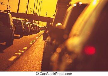 City Highway Traffic at Sunset