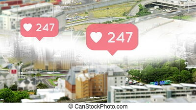 City highways with increasing hearts 4k