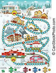 city), hiver, (cartoon, -, panneau jeu
