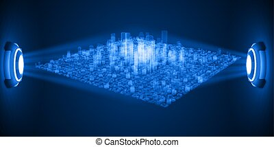 city hologram between thow source. suitable for...