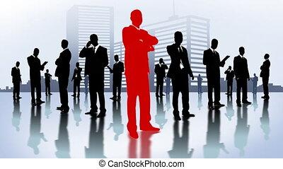 city., hommes affaires, équipe
