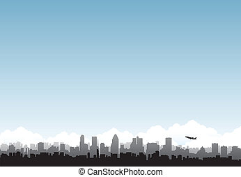 City horizon airplane