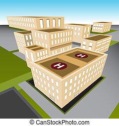 An image of a city hospital.