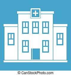 City hospital building icon white