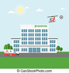 City hospital building or clinic, ambulance car and...