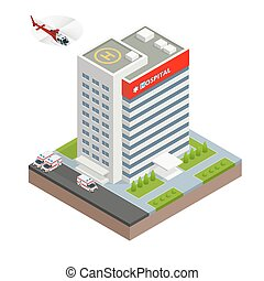 City hospital building with ambulance car and helicopter in flat design. Isometric vector illustration.