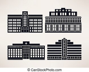 City hospital, icon Set, flat style, vector.