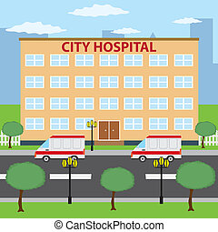 City hospital. - Two ambulance cars parking near city...