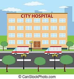 City hospital. - Two ambulance cars parking near city ...