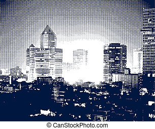 City hotspot - Halftone illustration of a city at night