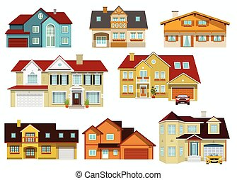 City houses - Vector illustration of colorful modern city...