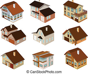 Vector illustration of city houses in perspective