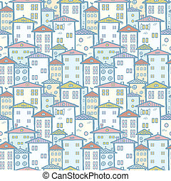 City houses seamless pattern background