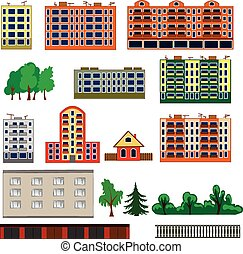 City houses set. Colorful, flat homes or buildings icon collection