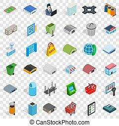 City icons set, isometric style